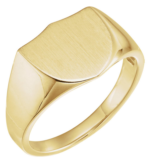 Edwardian Men's Accessories Mens Engravable Shield Signet Ring in 14K Gold $725.00 AT vintagedancer.com