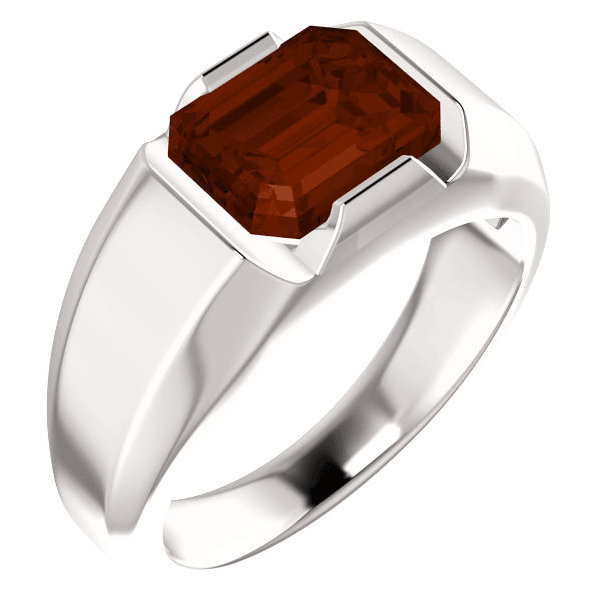 Men's Emerald-Cut Garnet 14K White Gold Solitaire Ring