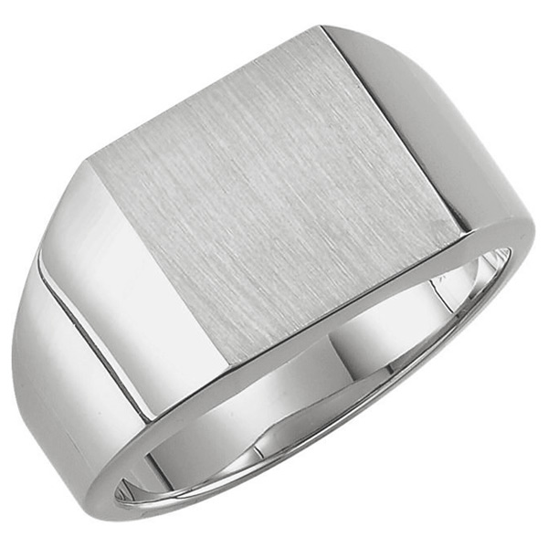1940s Mens Clothing Mens Solid 14K White Gold Engravable Signet Ring $1,299.00 AT vintagedancer.com