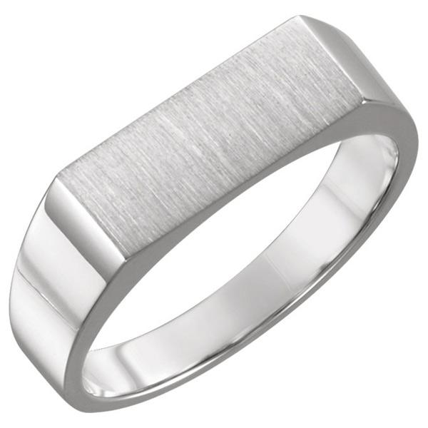 Men's White Gold Rectangular Engravable Signet Ring