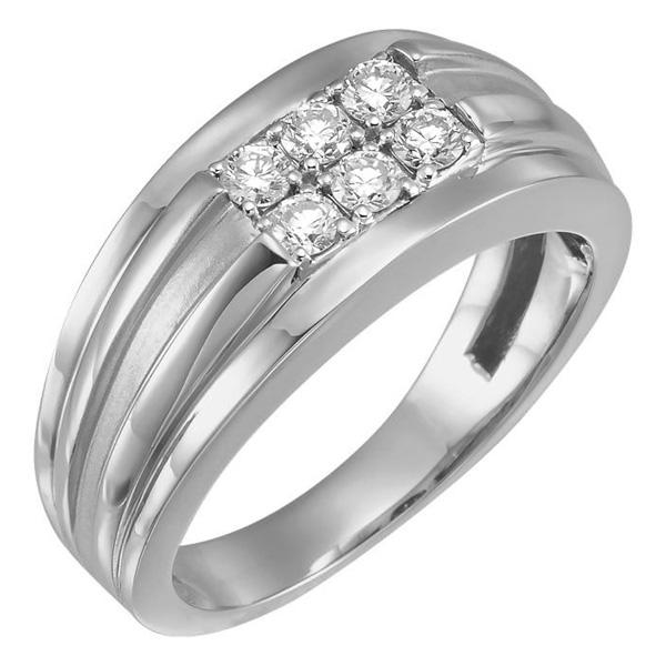 Men's White Gold Six-Stone 1/2 Carat Diamond Ring