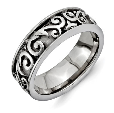 Paisley-Cut Titanium Wedding Band Ring