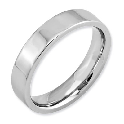 Polished Flat Cobalt Wedding Band Ring