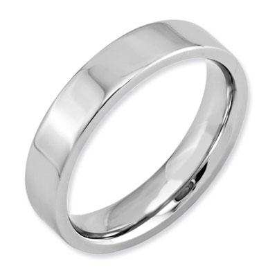 Polished Flat Cobalt Wedding Band Ring