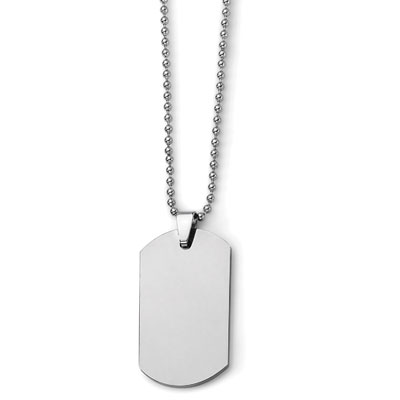 Polished Tungsten Dog Tag Necklace