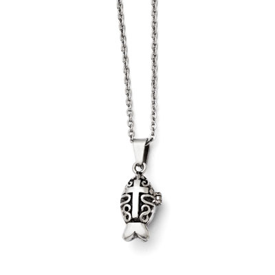 Prayer Box Stainless Steel Ichthus Necklace