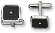 Stainless Steel and Black Carbon Fiber Cuff Links with 18K Gold Accent