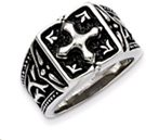 Stainless Steel Antiquated Cross Ring