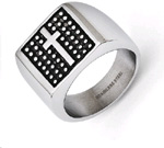 Stainless Steel Antiqued Cross Ring