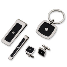 Stainless Steel Black Enamel and CZ 4-piece Gift Set