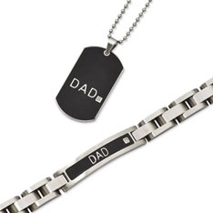 Stainless Steel Black Plated Dad Bracelet and Dog Tag Set