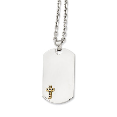 Stainless Steel Cross Dog Tag Necklace with 14K Gold and Sapphire Accents