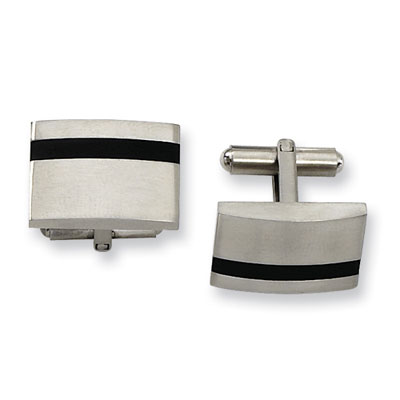 Stainless Steel Cuff Links with Black Rubber Accent