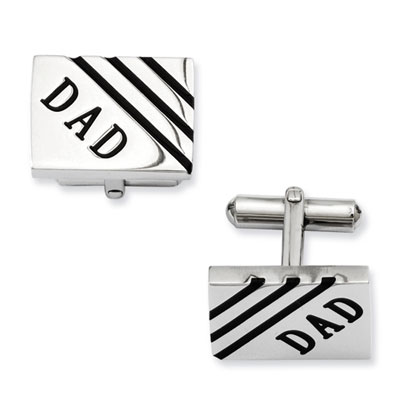 Stainless Steel Dad Cuff Links with Black Enamel