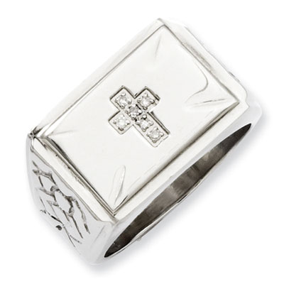 Stainless Steel Diamond Cross Ring