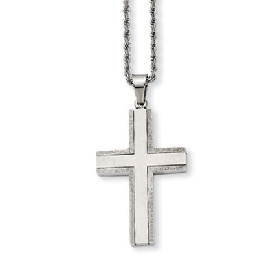 Stainless Steel Laser Cut Cross Necklace