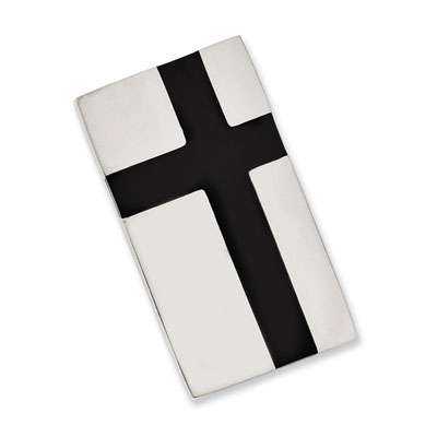 Stainless Steel Money Clip with Black Cross