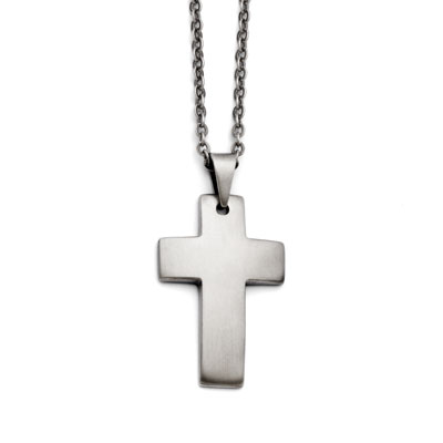 Stainless Steel Satin Matte Finished Cross Pendant