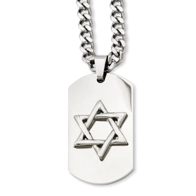Stainless Steel Star of David Dog Tag Necklace