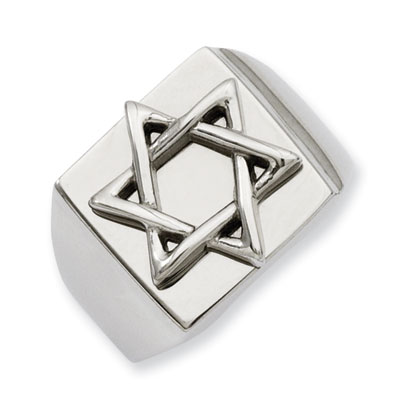 Stainless Steel Star of David Polished Ring