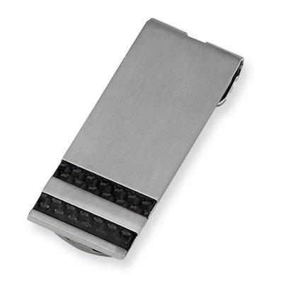 Striped Black Carbon Fiber Money Clip