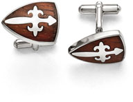 Sword of God Stainless Steel Cuff Links with Wood Inlay