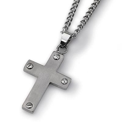 Titanium Cross Necklace with Screw Detail