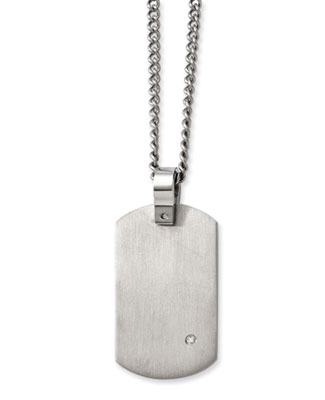 Titanium Dog Tag Necklace with Diamond Accent