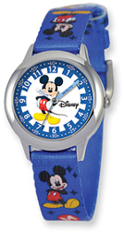 Mickey Mouse Watch, Blue Fabric