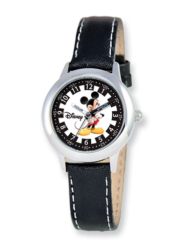 Kids Mickey Mouse Watch, Black Leather