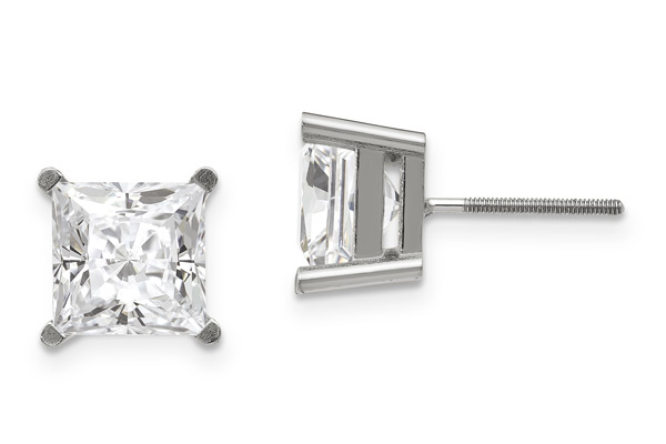 1.42 Carat Moissanite Princess-Cut Stud Earrings, 14K White Gold, Screw-Back Posts