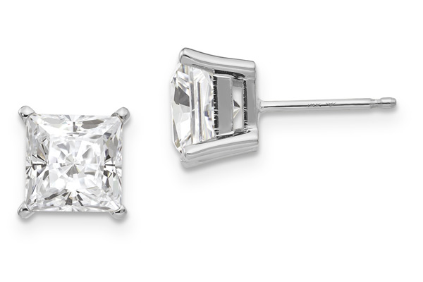 1.42 Carat Princess-Cut Moissanite Stud Earrings in 14K White Gold