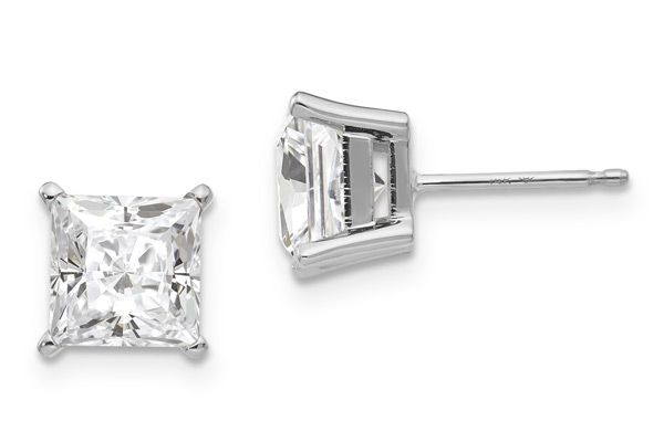 1.82 Carat Princess-Cut Moissanite Stud Earrings in 14K White Gold
