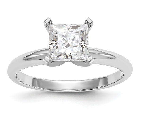 1.88 Carat Princess-Cut Moissanite Solitaire Ring, 14K White Gold