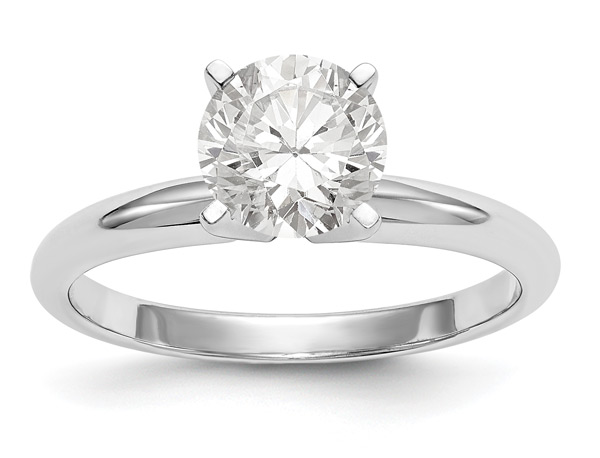 1.75 Carat Moissanite Solitaire Engagement Ring, 14K White Gold