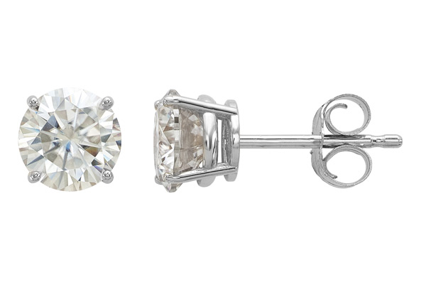 1 Carat Moissanite Stud Earrings in White Gold