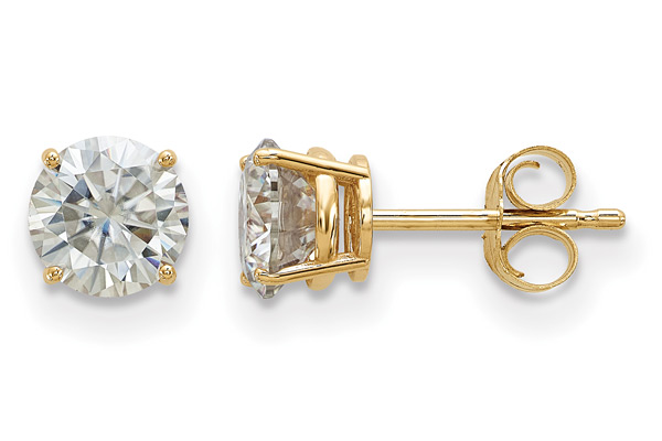 1 Carat Moissanite Stud Earrings, 14K Yellow Gold