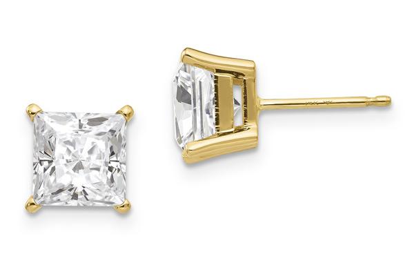 2.36 Carat Moissanite Princess-Cut Stud Earrings in 14K Yellow Gold