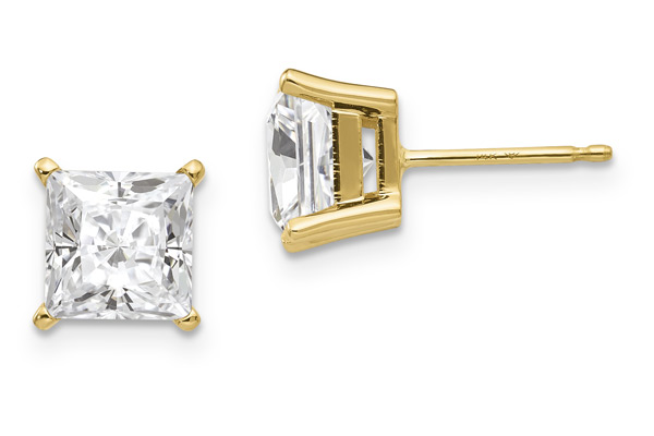 1.82 Carat Princess-Cut Moissanite Stud Earrings, 14K Yellow Gold