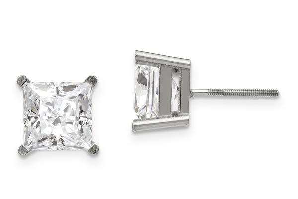 3.76 Carat Princess-Cut Moissanite Stud Earrings, 14K White Gold
