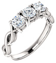 3-Stone Forever One Moissanite Engagement Ring or Anniversary Band