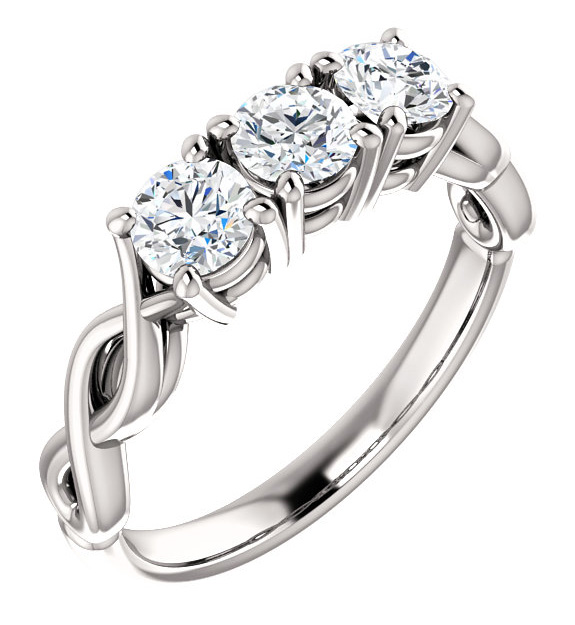 3 Stone Forever One Moissanite Engagement Ring