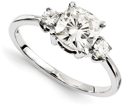 3-Stone Cushion-Cut Moissanite Ring in 14K White Gold