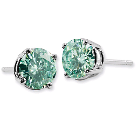 Forever Brilliant 1 Carat Green Moissanite Stud Earrings