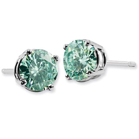 Forever Brilliant 1 Carat Green Moissanite Stud Earrings