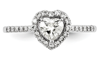 Moissanite Halo Heart Ring in 14K White Gold