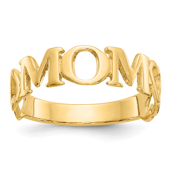 14K Gold Mom Ring with Heart