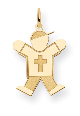 Christian Boy Kid Pendant with Cross in 14K Gold