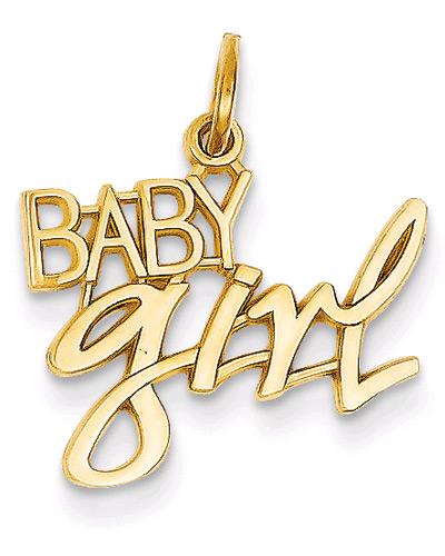 Baby Girl Charm Pendant in 14K Gold