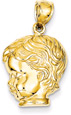 Young Boy Head and Face Pendant, 14K Gold